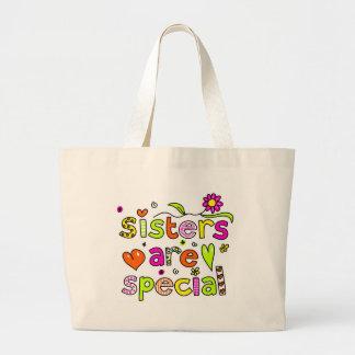 Las hermanas son especiales bolsa tela grande