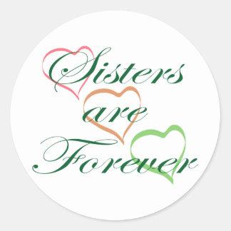 Las hermanas son Forever Pegatina Redonda