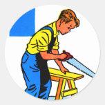 Las herramientas retras del juguete de los niños pegatina redonda
