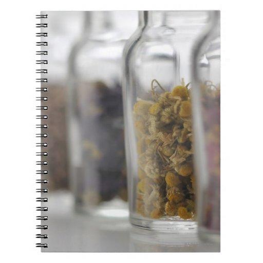 Las hierbas que una botella de cristal contiene libros de apuntes