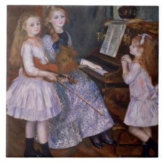 Las hijas de Catulle Mendes en el piano, 1888 Azulejo Cuadrado Grande