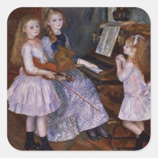 Las hijas de Catulle Mendes en el piano, 1888 Pegatina Cuadrada
