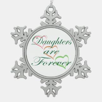 Las hijas son para siempre corazones adorno de peltre en forma de copo de nieve