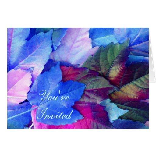 Las hojas azules del rosa de N - invite a la Tarjeta De Felicitación