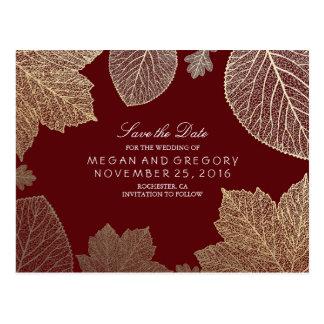 las hojas de Borgoña y del oro caen reserva la Tarjetas Postales