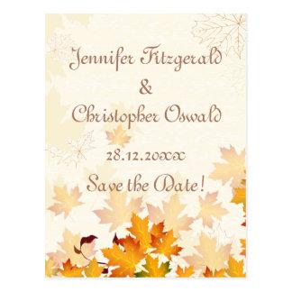 Las hojas de otoño de oro ahorran la fecha postal