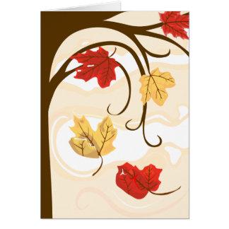 Las hojas de otoño deben caer tarjeta de felicitac