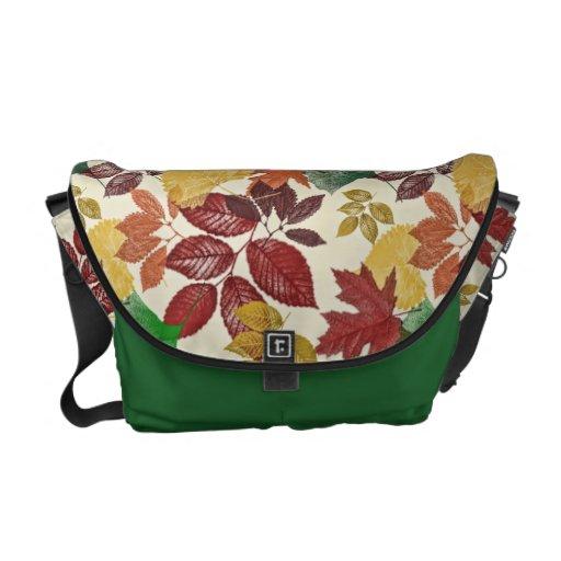 Las hojas de otoño detallaron colores silenciados bolsa messenger