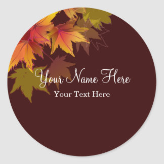 Las hojas de otoño están cayendo etiquetas redondas