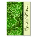 Las hojas del verde de William Morris personalizar Tarjeta