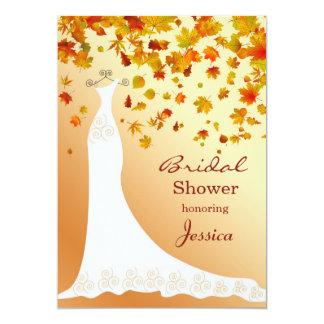 """Las hojas que caen, ducha nupcial del vestido de invitación 5"""" x 7"""""""