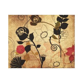 Las hojas y las flores del vintage envolvieron la  lona envuelta para galerias