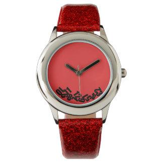 """""""Las horas muertas"""" en rojo, divertido y original Relojes De Pulsera"""