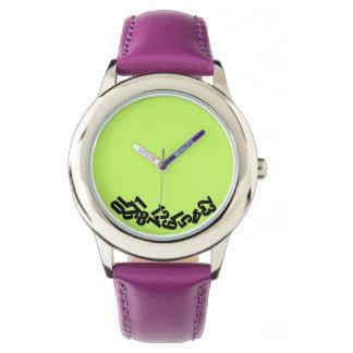 """""""Las horas muertas"""" verde y violeta, divertido Relojes De Pulsera"""