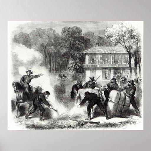 Las hornillas confederadas del algodón acercan a M Posters