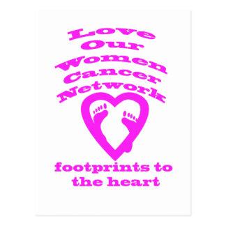 Las huellas al corazón cerca ahorran nuestra red postales