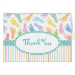 Las huellas del bebé le agradecen tarjeta de nota