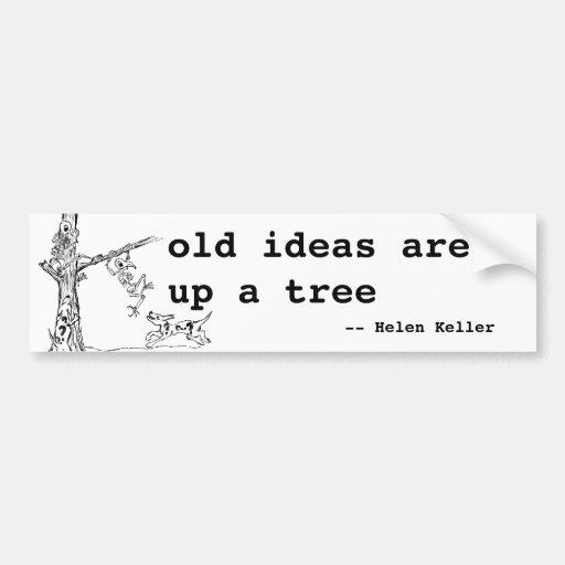 Las ideas están encima de un árbol etiqueta de parachoque