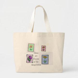 Las ideas son flores de la imaginación bolsa de tela grande
