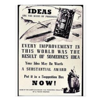 Las ideas son la base del progreso, la pusieron en tarjeta publicitaria