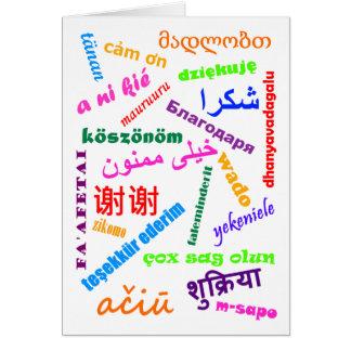 Las idiomas le agradecen cardar tarjeton