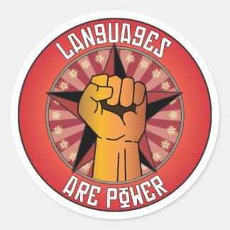 Las idiomas son poder pegatina redonda