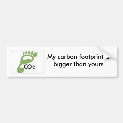 las imágenes, mi huella del carbono son más grande pegatina para auto