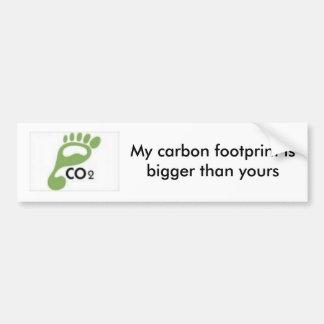 las imágenes, mi huella del carbono son más grande pegatina de parachoque