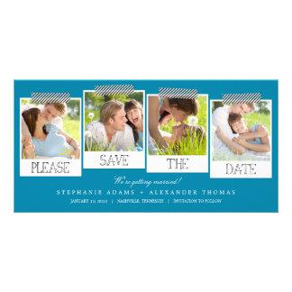 Las impresiones polaroid ahorran las tarjetas de tarjetas personales con fotos