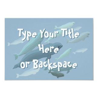 """Las invitaciones de la ballena de la beluga invitación 3.5"""" x 5"""""""