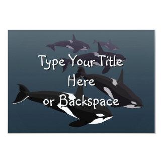 """Las invitaciones de la ballena de la orca invitación 3.5"""" x 5"""""""