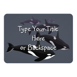 """Las invitaciones de la ballena de la orca invitación 4.5"""" x 6.25"""""""