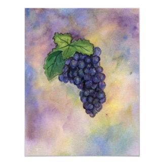 """Las invitaciones de las uvas de vino rojo del invitación 4.25"""" x 5.5"""""""