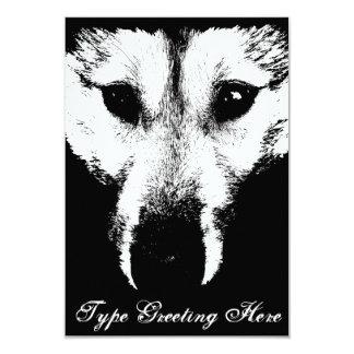 """Las invitaciones del perrito de lobo invitación 3.5"""" x 5"""""""