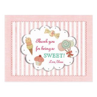 Las invitaciones dulces le agradecen postal