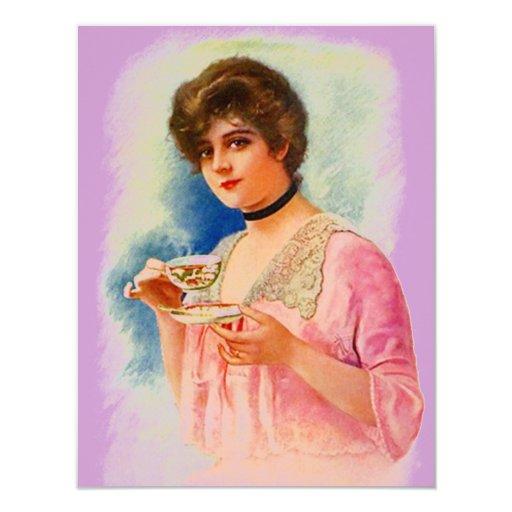 Las invitaciones elegantes de la señora fiesta del invitación 10,8 x 13,9 cm