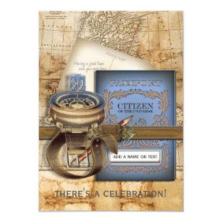 Las invitaciones medias del fiesta del viajero invitación 11,4 x 15,8 cm