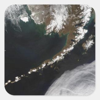 Las islas Aleutian y la península de Alaska Pegatina Cuadrada