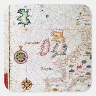 Las islas británicas, el Iberia y la África del Pegatina Cuadrada