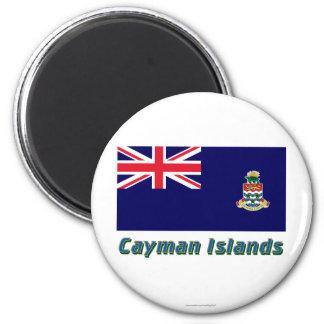 Las Islas Caimán señalan por medio de una bandera Imán Redondo 5 Cm
