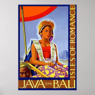Las islas del ~ de Java y de Bali del vintage romá Póster