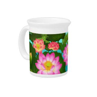 Las jarras orientales del jardín de Lotus