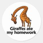 Las jirafas comieron mi preparación pegatinas redondas