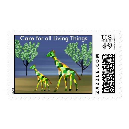 Las jirafas cuidan para todos los sellos de las co