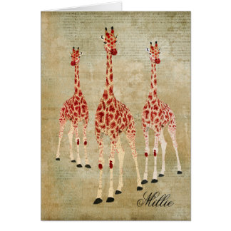 Las jirafas del rosa rojo personalizaron Notecard