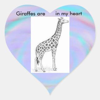 Las jirafas están en mi pegatina del corazón