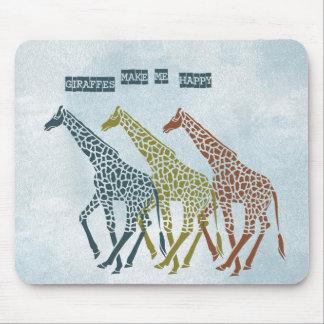 Las jirafas me hacen feliz alfombrillas de ratón