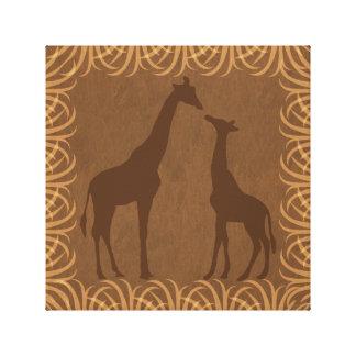 Las jirafas siluetean el | que hace frente a la impresión en lienzo