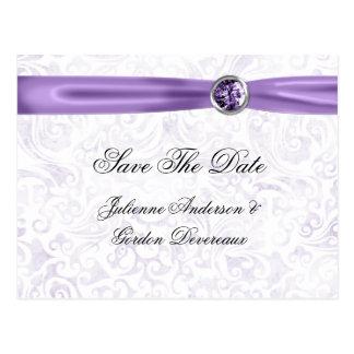 Las joyas blancas púrpuras de la cinta del damasco postales