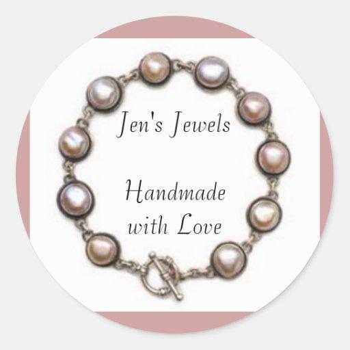 Las joyas de Jen hechas a mano con amor Pegatina Redonda